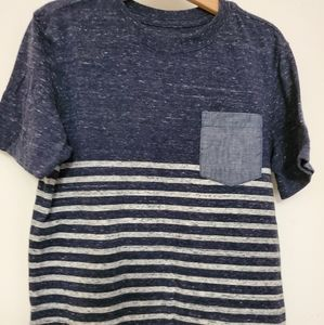 Boys Size 6-7 Navy and white tee with denim pocket
